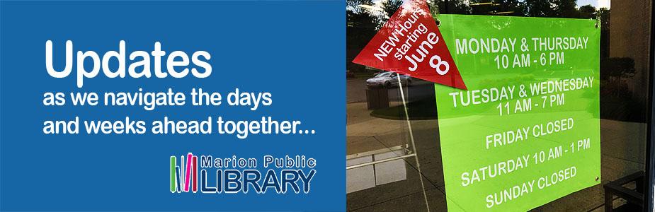banner anouncing new hours for library services